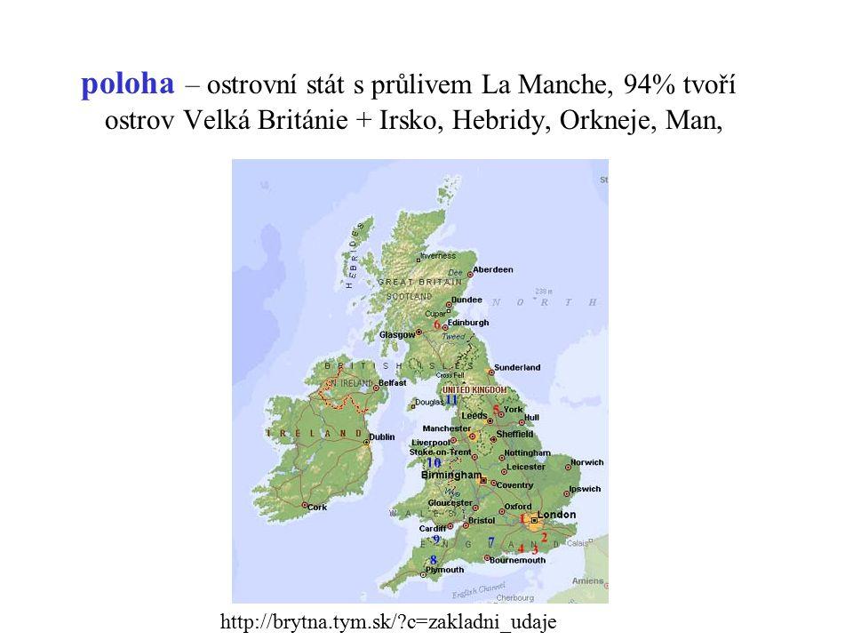 poloha – ostrovní stát s průlivem La Manche, 94% tvoří ostrov Velká Británie + Irsko, Hebridy, Orkneje, Man,