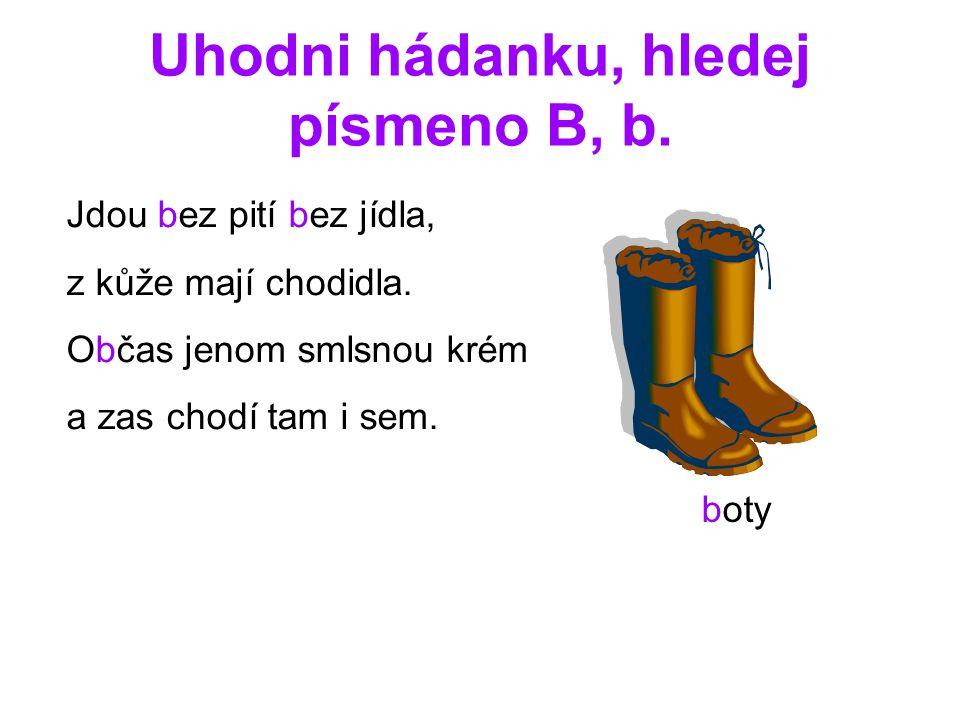 Uhodni hádanku, hledej písmeno B, b.