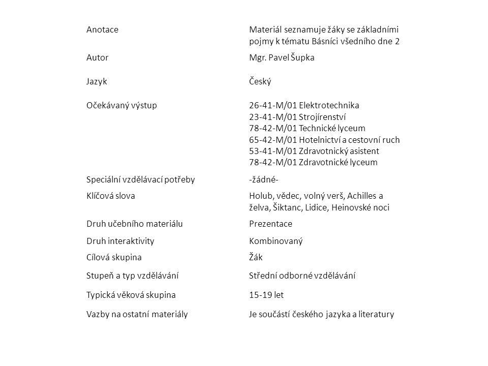 Anotace Materiál seznamuje žáky se základními pojmy k tématu Básníci všedního dne 2. Autor. Mgr. Pavel Šupka.