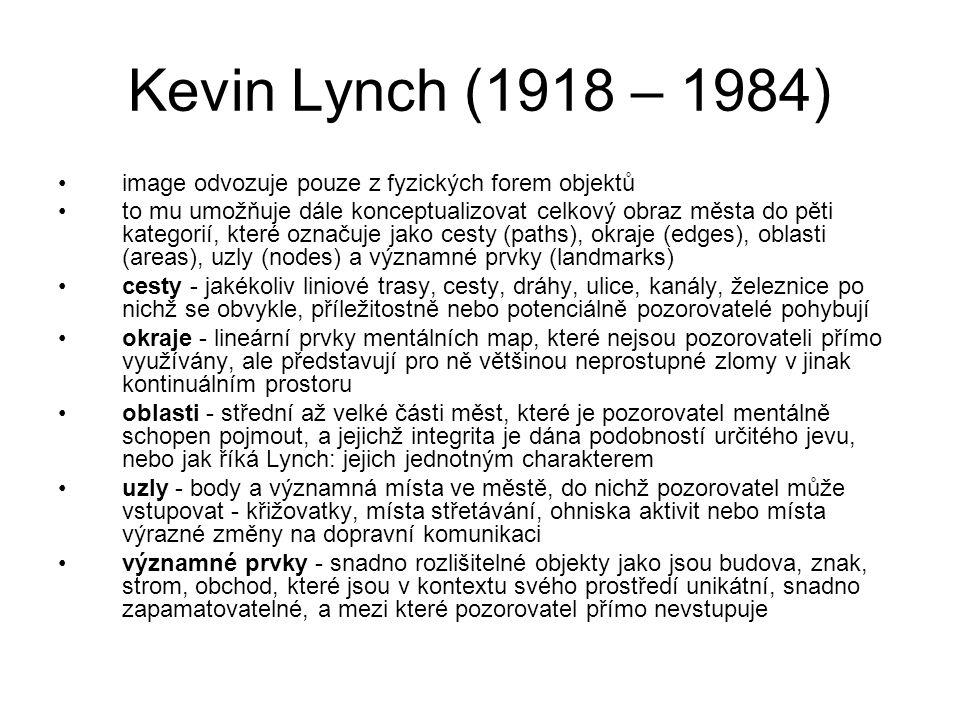 Kevin Lynch (1918 – 1984) image odvozuje pouze z fyzických forem objektů.