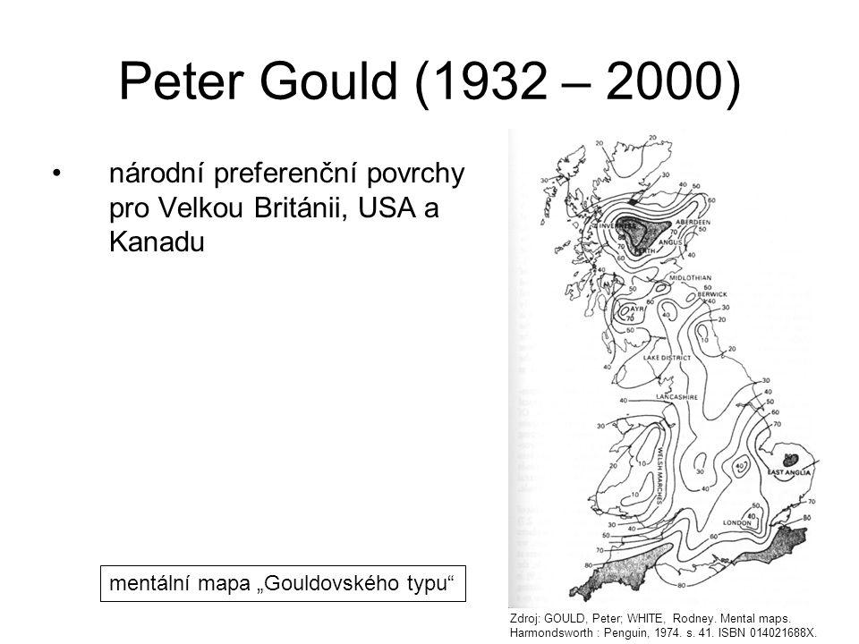 """Peter Gould (1932 – 2000) národní preferenční povrchy pro Velkou Británii, USA a Kanadu. mentální mapa """"Gouldovského typu"""
