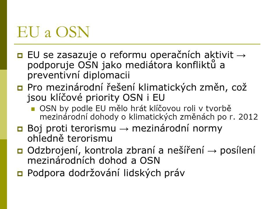 EU a OSN EU se zasazuje o reformu operačních aktivit → podporuje OSN jako mediátora konfliktů a preventivní diplomacii.
