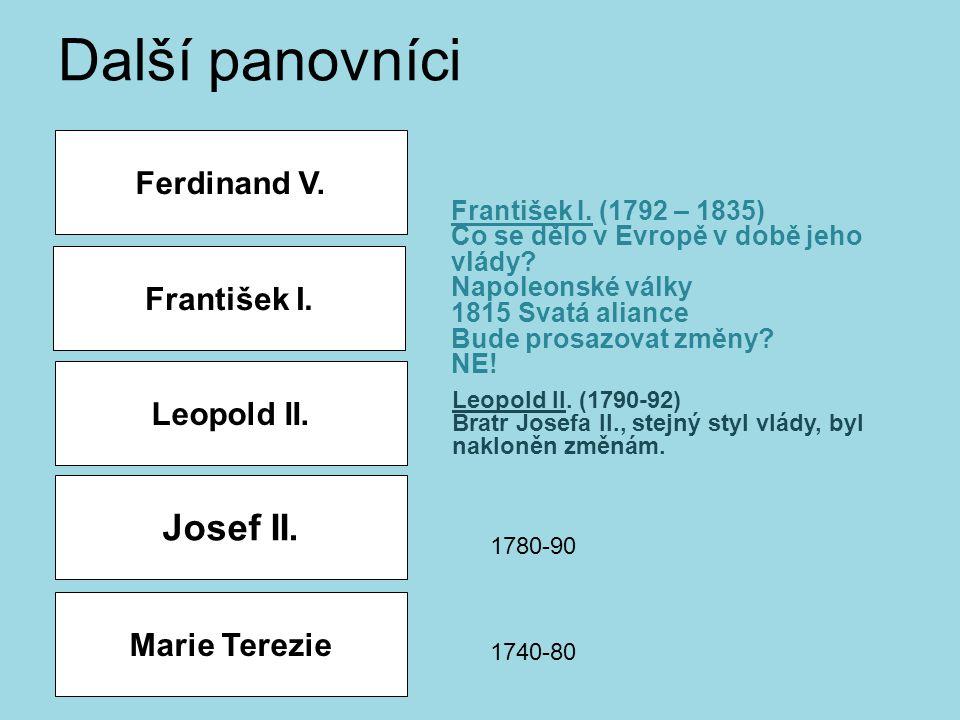 Další panovníci Josef II. Ferdinand V. František I. Leopold II.
