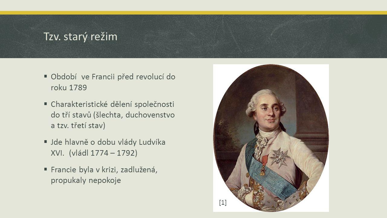 Tzv. starý režim Období ve Francii před revolucí do roku 1789