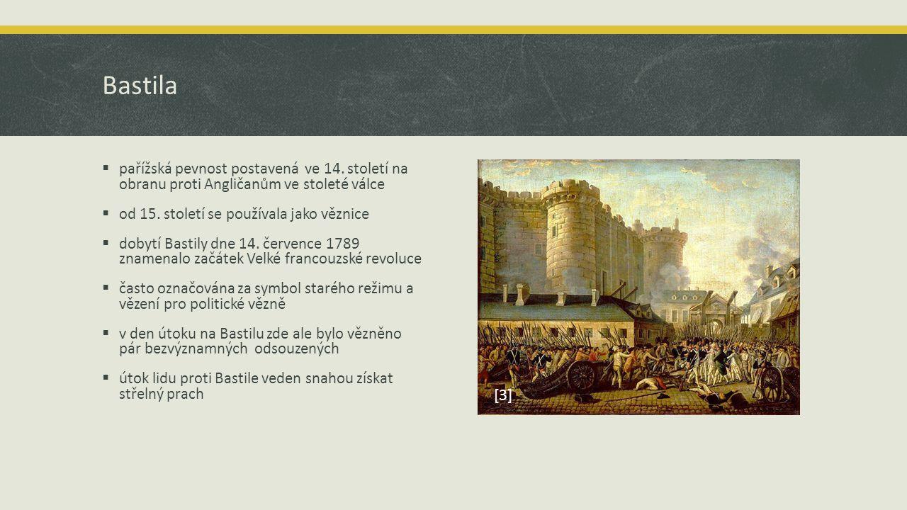 Bastila pařížská pevnost postavená ve 14. století na obranu proti Angličanům ve stoleté válce. od 15. století se používala jako věznice.