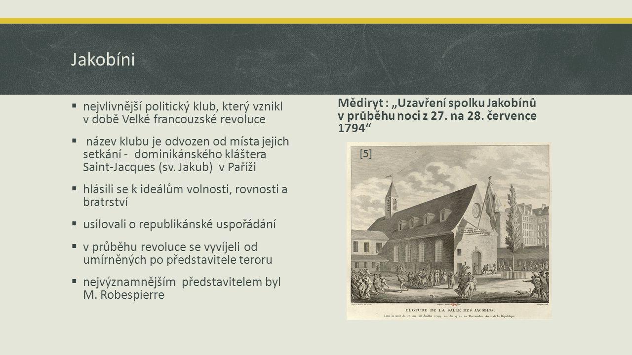"""Jakobíni Mědiryt : """"Uzavření spolku Jakobínů v průběhu noci z 27. na 28. července 1794"""