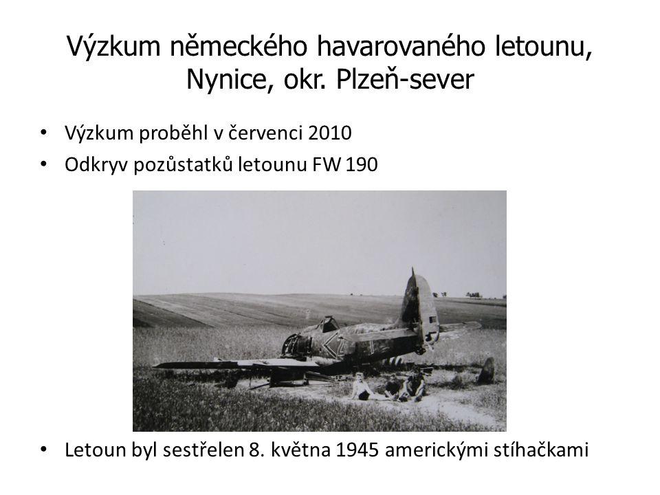 Výzkum německého havarovaného letounu, Nynice, okr. Plzeň-sever