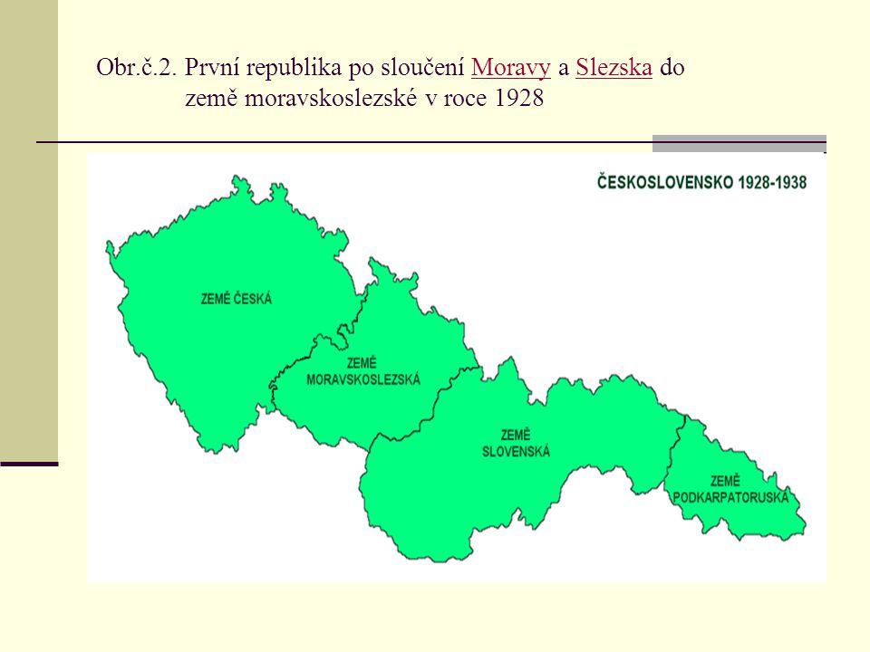 Obr.č.2. První republika po sloučení Moravy a Slezska do země moravskoslezské v roce 1928
