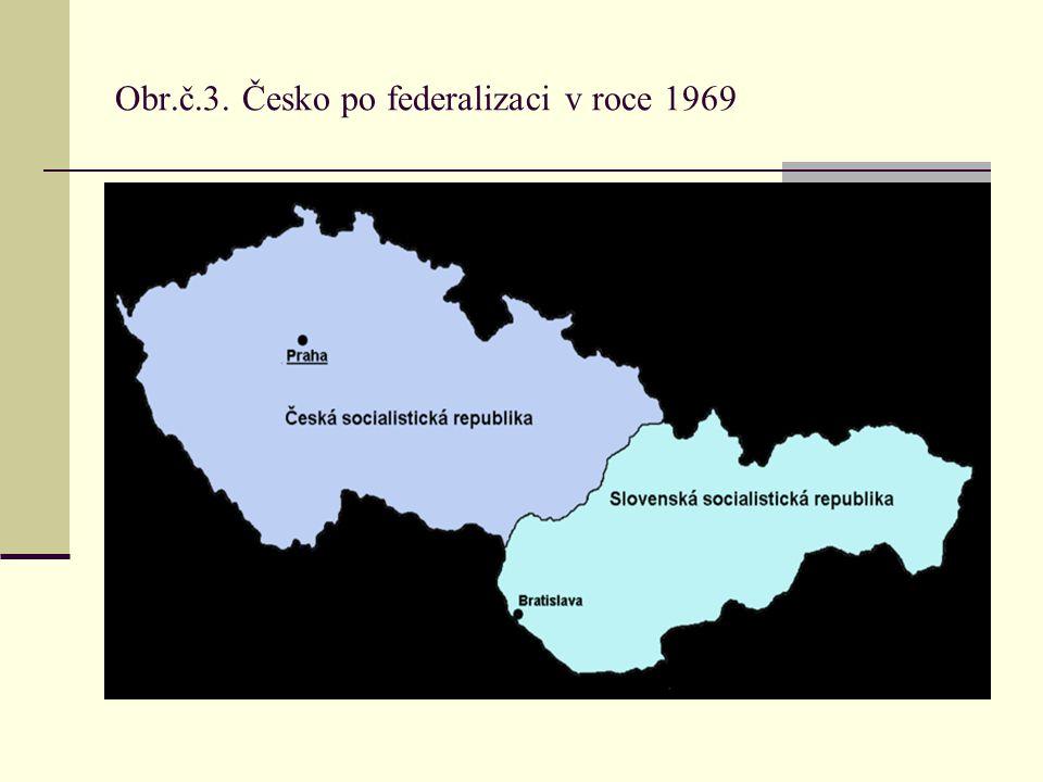 Obr.č.3. Česko po federalizaci v roce 1969