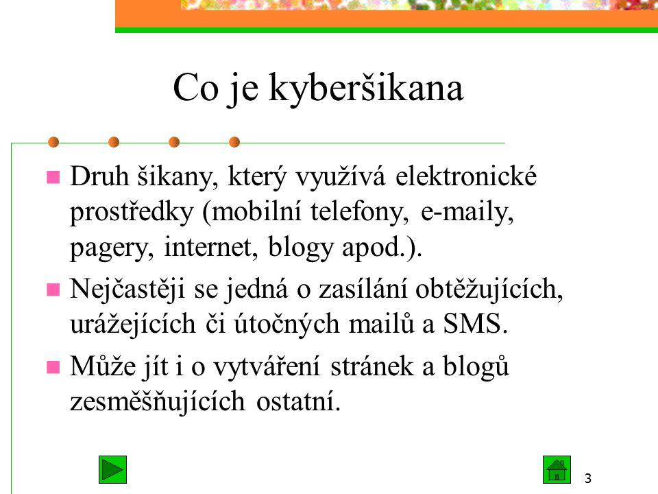 Co je kyberšikana Druh šikany, který využívá elektronické prostředky (mobilní telefony, e-maily, pagery, internet, blogy apod.).
