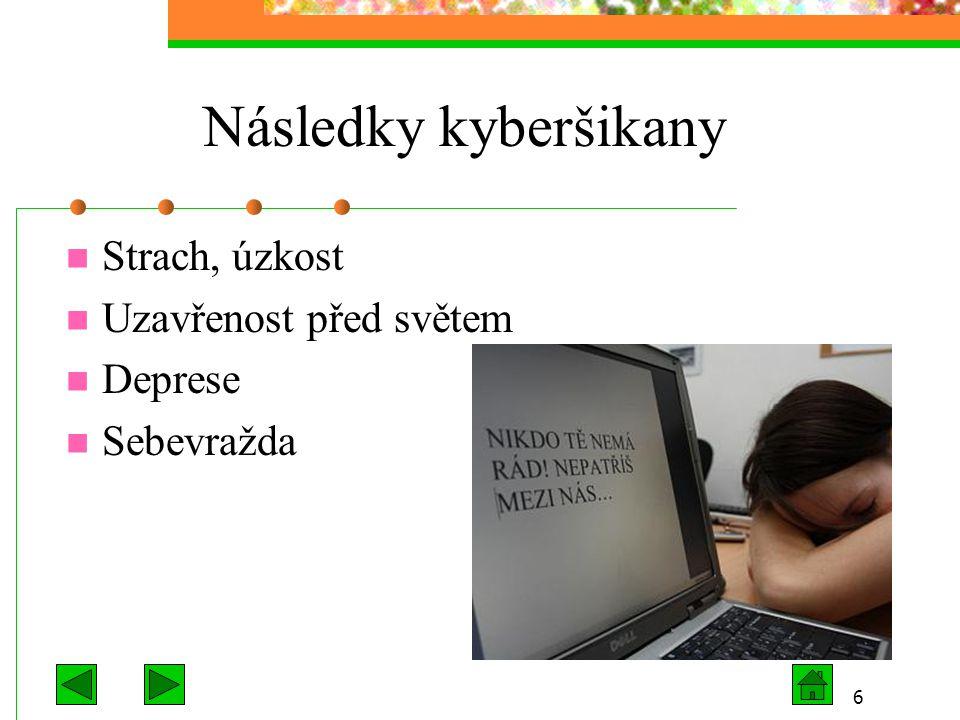 Následky kyberšikany Strach, úzkost Uzavřenost před světem Deprese