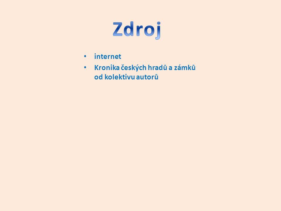 Zdroj internet Kronika českých hradů a zámků od kolektivu autorů