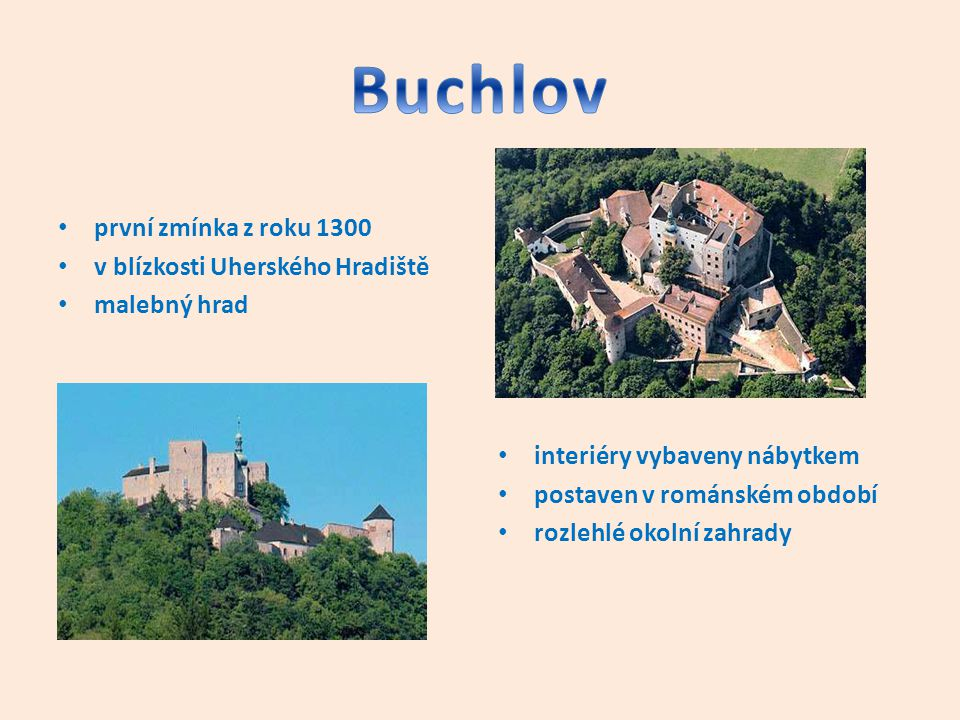 Buchlov první zmínka z roku 1300 v blízkosti Uherského Hradiště