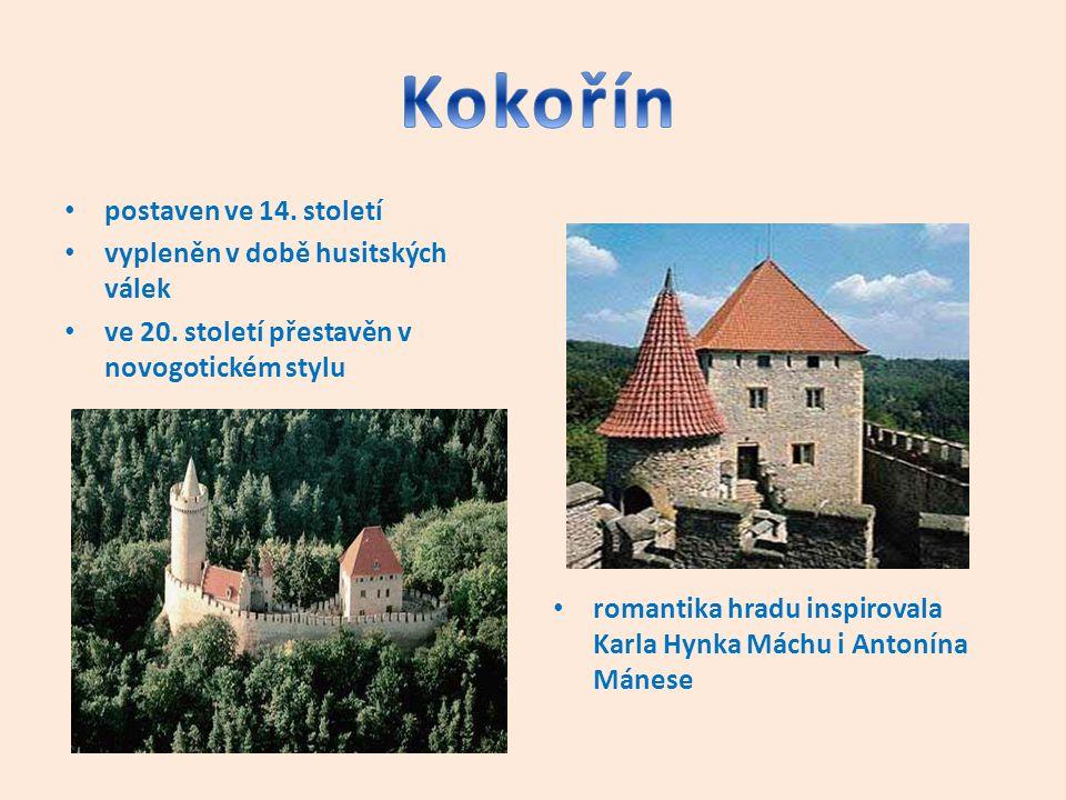 Kokořín postaven ve 14. století vypleněn v době husitských válek