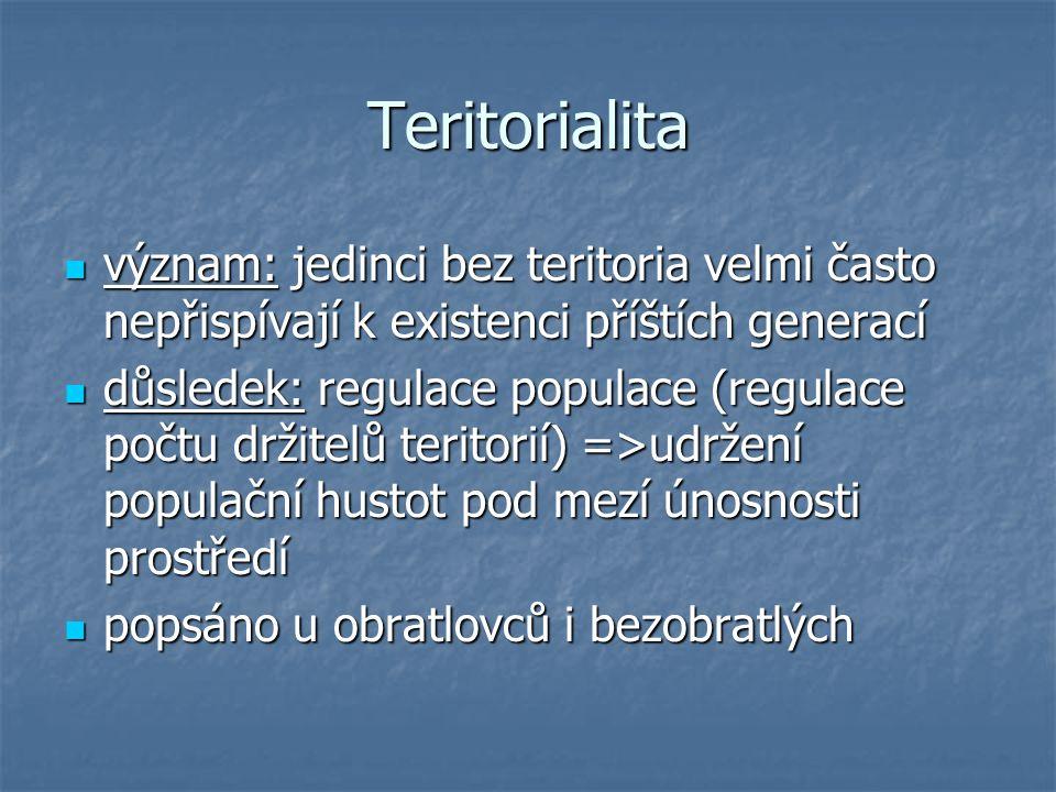 Teritorialita význam: jedinci bez teritoria velmi často nepřispívají k existenci příštích generací.