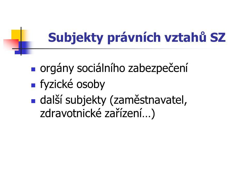 Subjekty právních vztahů SZ