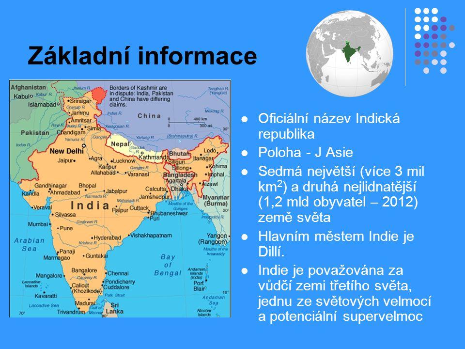 Základní informace Oficiální název Indická republika Poloha - J Asie