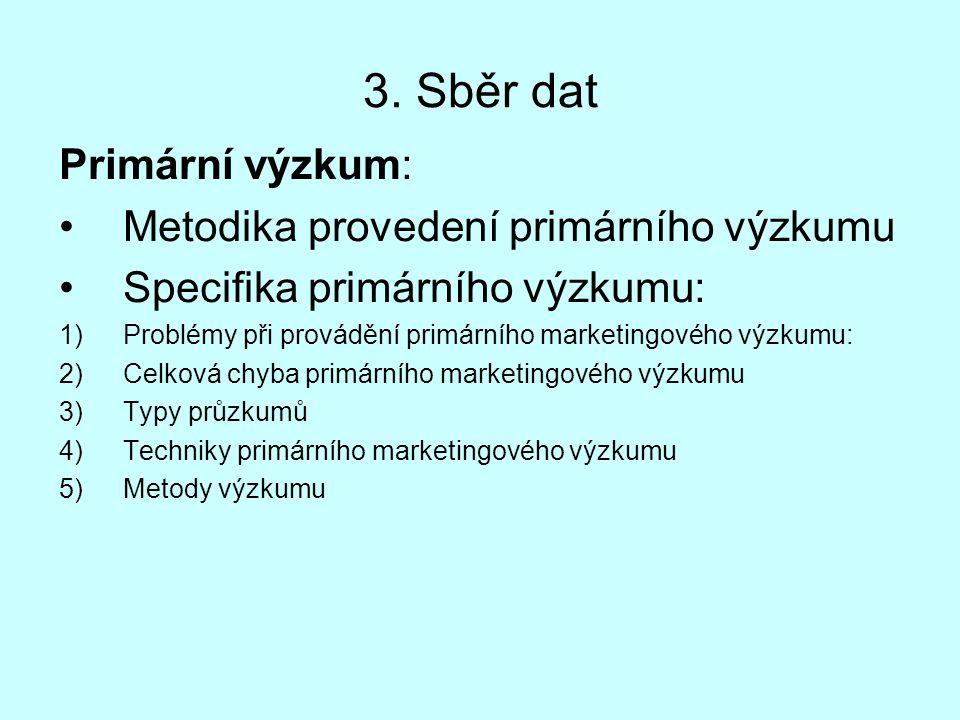 3. Sběr dat Primární výzkum: Metodika provedení primárního výzkumu