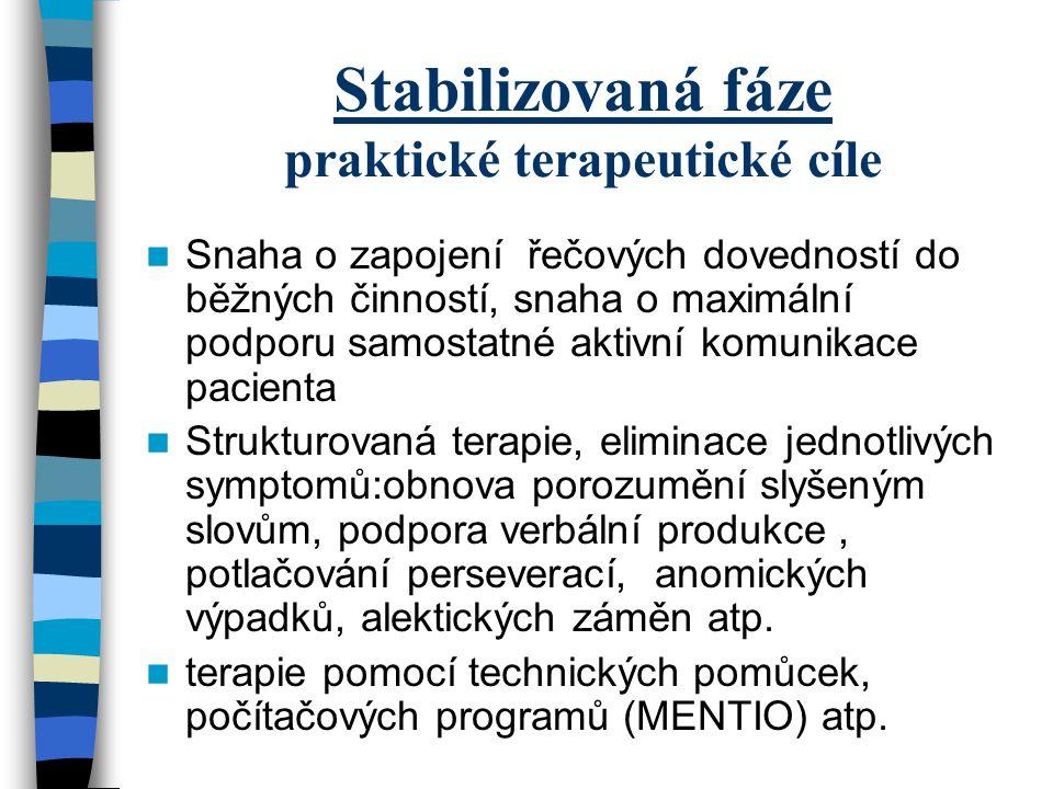 Stabilizovaná fáze praktické terapeutické cíle