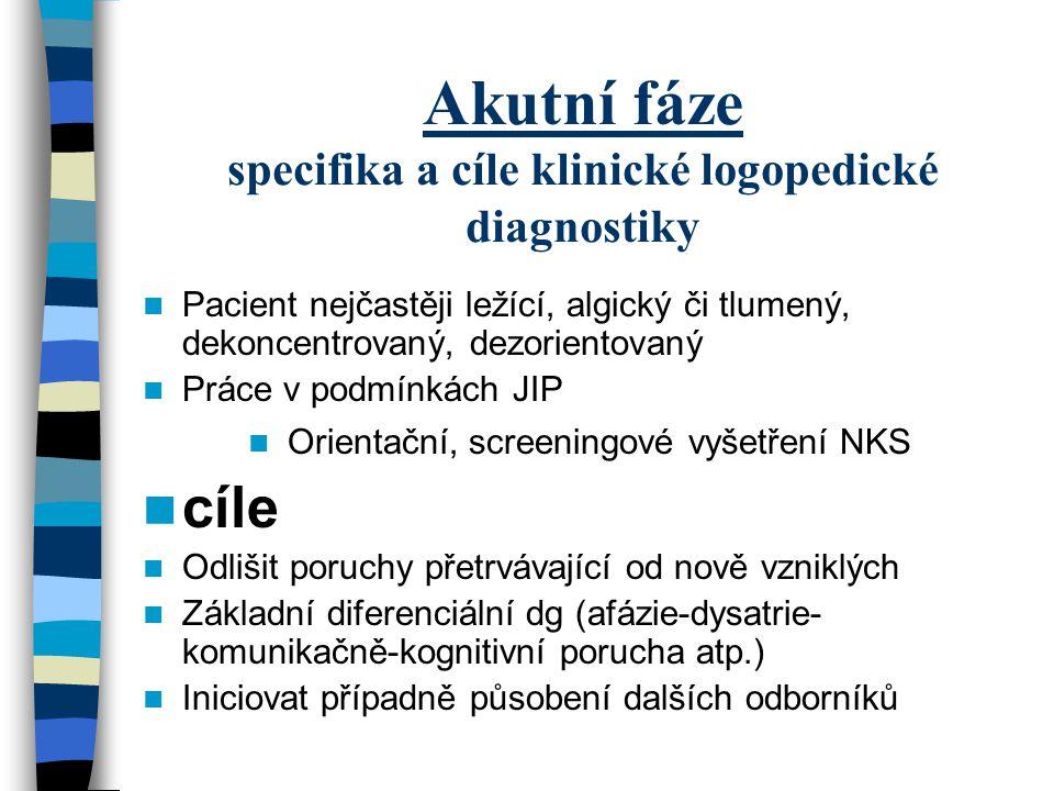 Akutní fáze specifika a cíle klinické logopedické diagnostiky