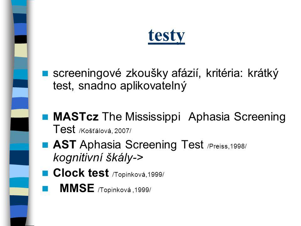 testy screeningové zkoušky afázií, kritéria: krátký test, snadno aplikovatelný. MASTcz The Mississippi Aphasia Screening Test /Košťálová, 2007/