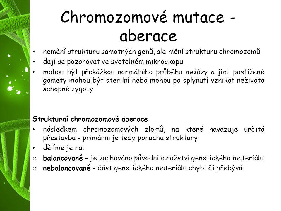 Chromozomové mutace - aberace
