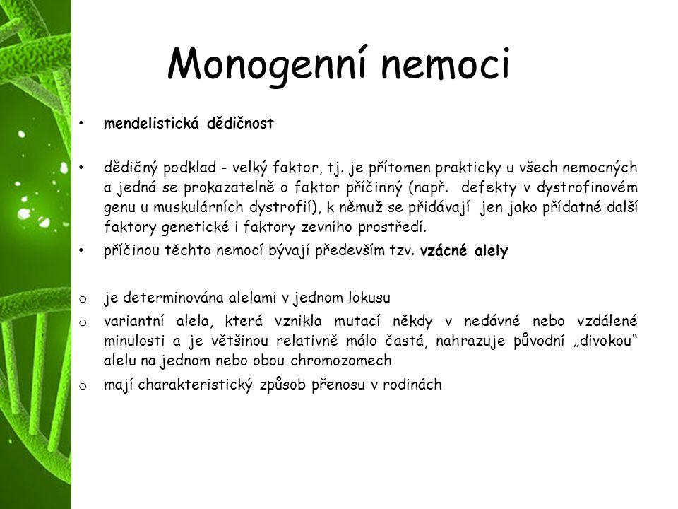 Monogenní nemoci mendelistická dědičnost