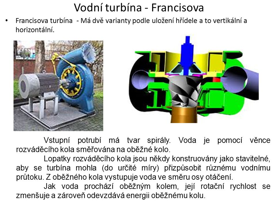 Vodní turbína - Francisova