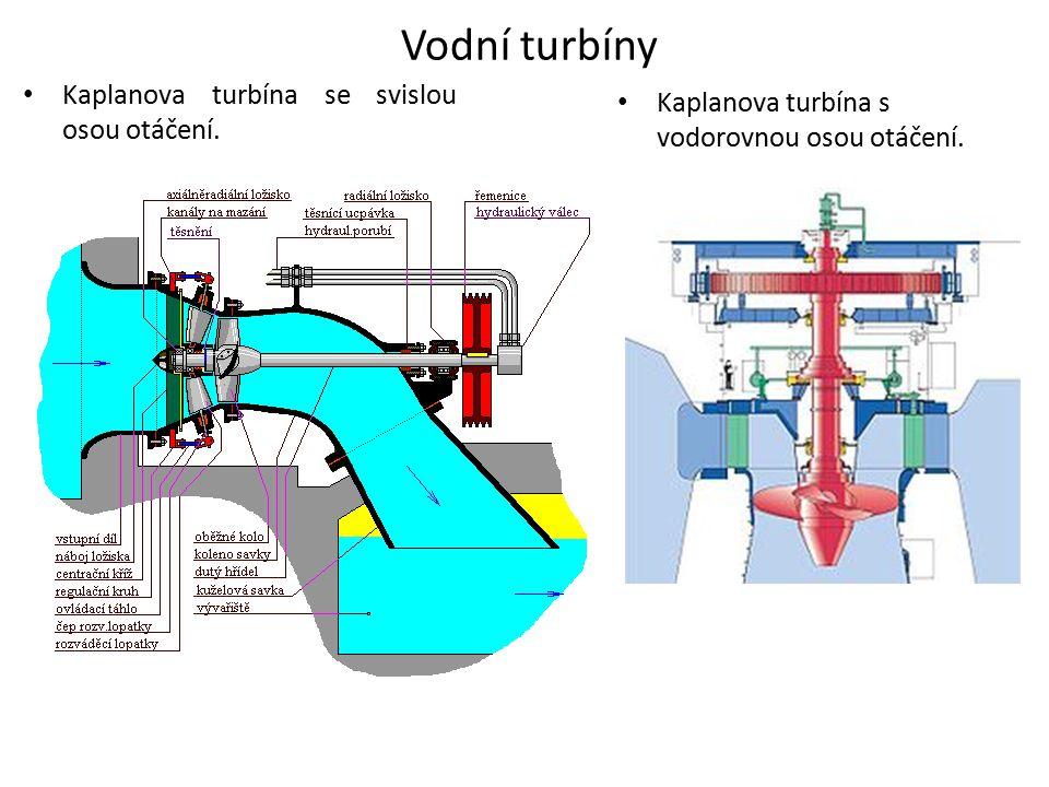 Vodní turbíny Kaplanova turbína se svislou osou otáčení.