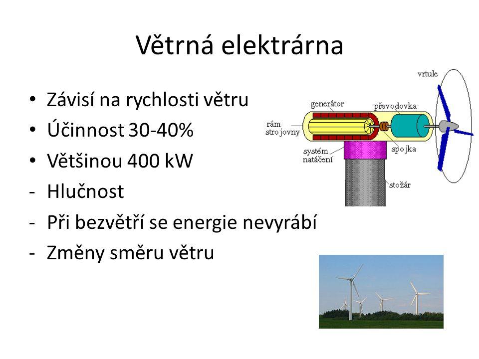 Větrná elektrárna Závisí na rychlosti větru Účinnost 30-40%