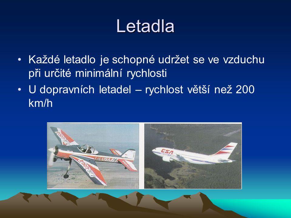 Letadla Každé letadlo je schopné udržet se ve vzduchu při určité minimální rychlosti.