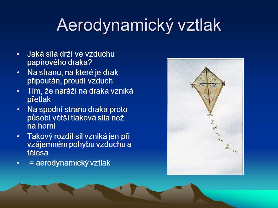 Aerodynamický vztlak Jaká síla drží ve vzduchu papírového draka