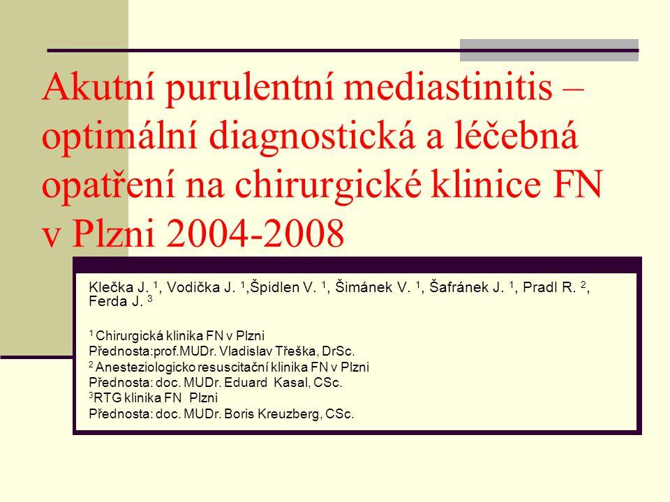 Akutní purulentní mediastinitis – optimální diagnostická a léčebná opatření na chirurgické klinice FN v Plzni 2004-2008