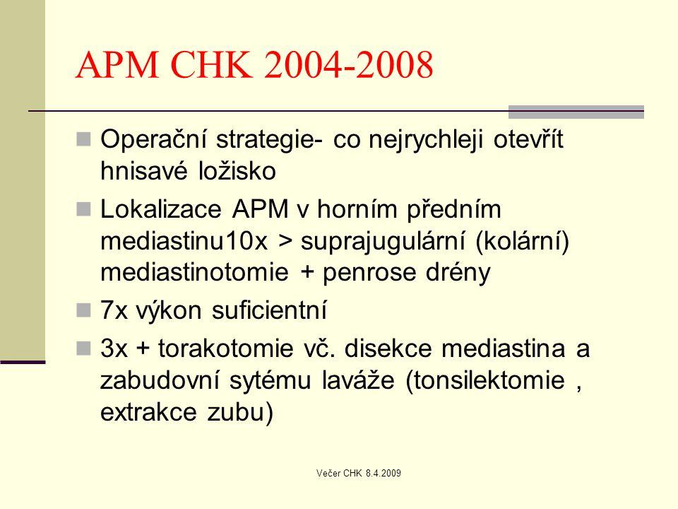 APM CHK 2004-2008 Operační strategie- co nejrychleji otevřít hnisavé ložisko.