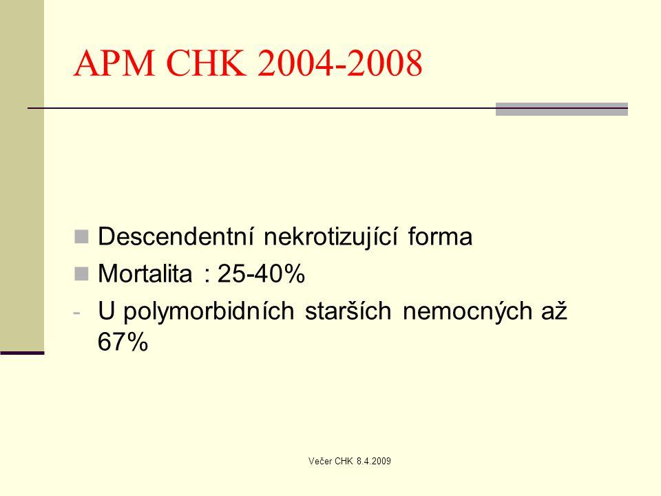 APM CHK 2004-2008 Descendentní nekrotizující forma Mortalita : 25-40%