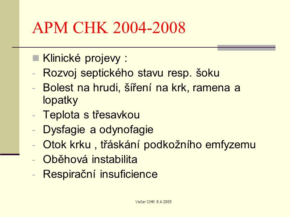 APM CHK 2004-2008 Klinické projevy :
