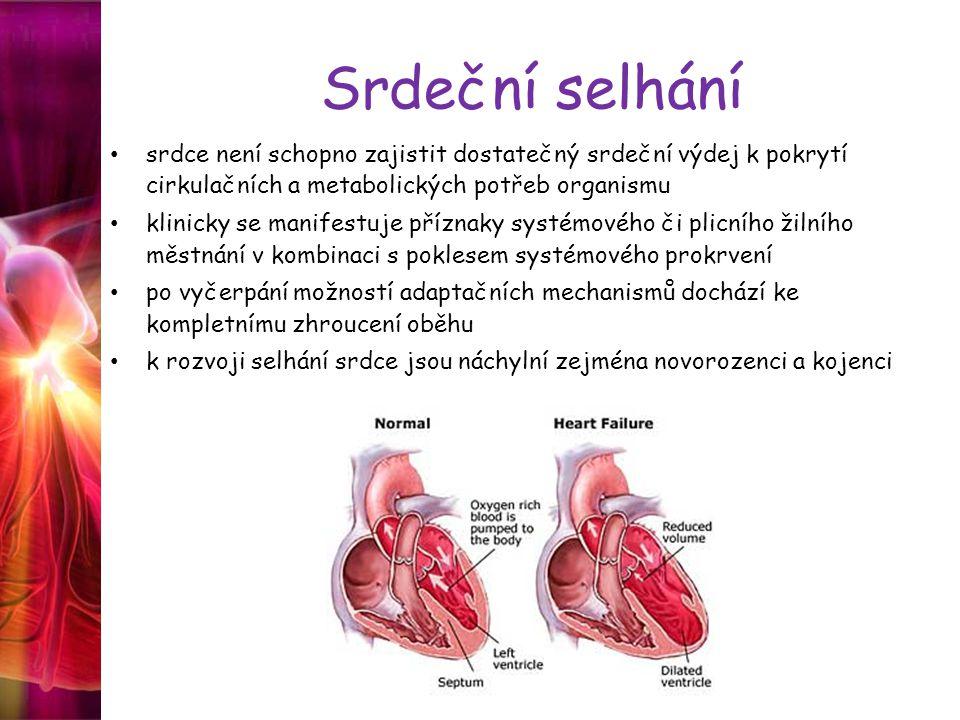 Srdeční selhání srdce není schopno zajistit dostatečný srdeční výdej k pokrytí cirkulačních a metabolických potřeb organismu.