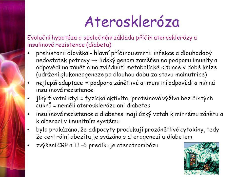Ateroskleróza Evoluční hypotéza o společném základu příčin aterosklerózy a insulinové rezistence (diabetu)