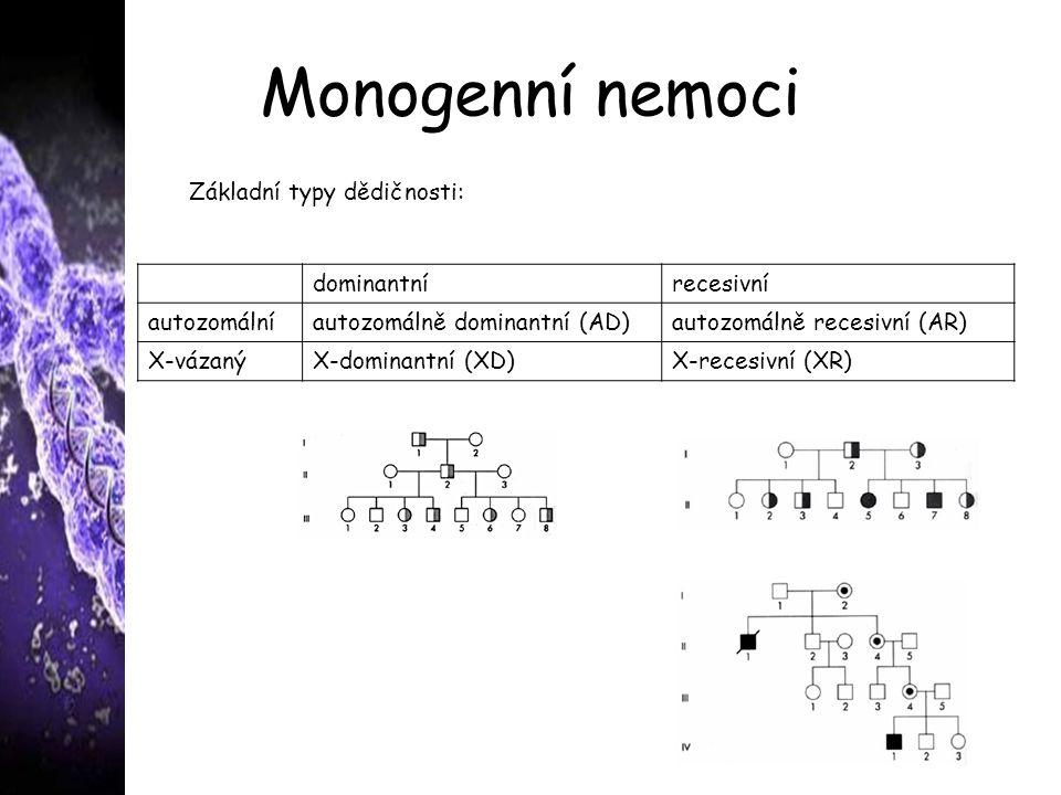 Monogenní nemoci Základní typy dědičnosti: dominantní recesivní