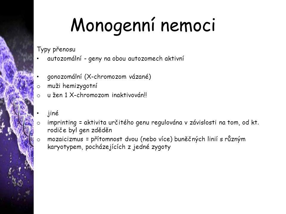 Monogenní nemoci Typy přenosu