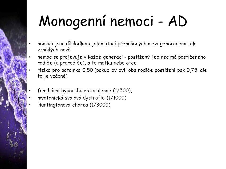 Monogenní nemoci - AD nemoci jsou důsledkem jak mutací přenášených mezi generacemi tak vzniklých nově.