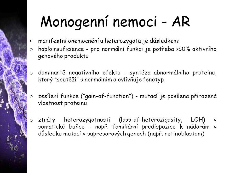 Monogenní nemoci - AR manifestní onemocnění u heterozygota je důsledkem: