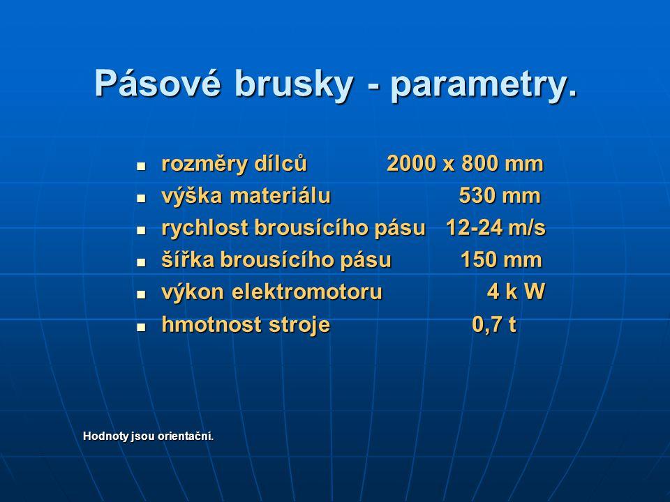 Pásové brusky - parametry.