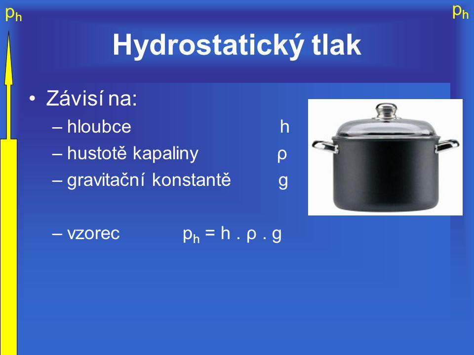 Hydrostatický tlak Závisí na: hloubce h hustotě kapaliny ρ