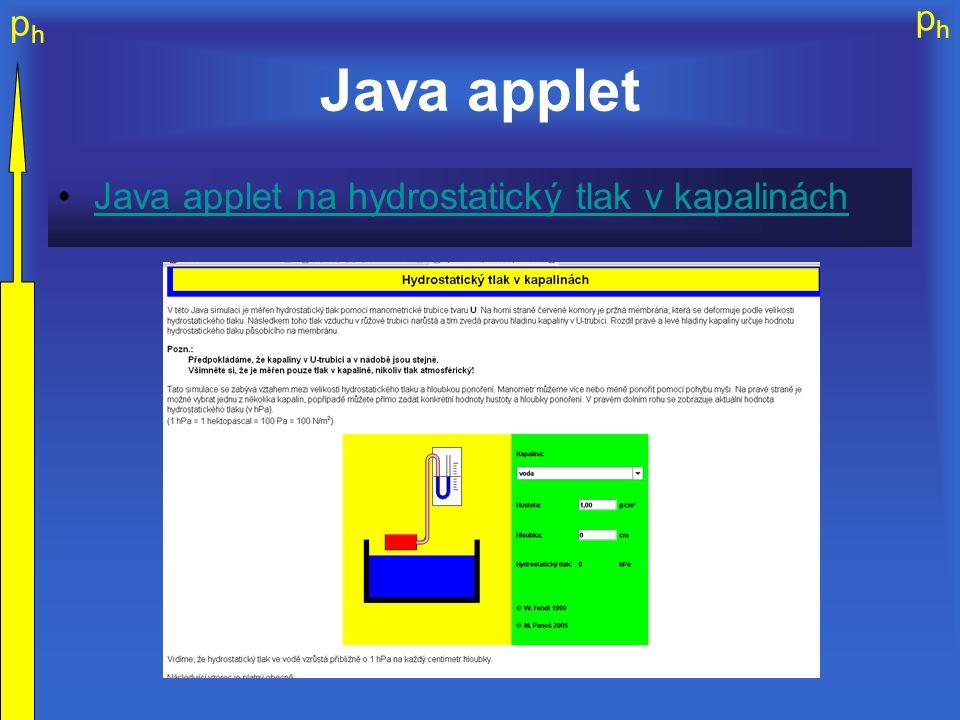 Java applet Java applet na hydrostatický tlak v kapalinách