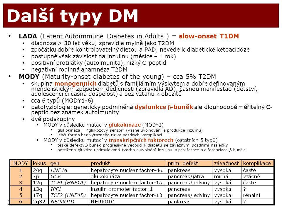 Další typy DM LADA (Latent Autoimmune Diabetes in Adults ) = slow-onset T1DM. diagnóza > 30 let věku, zpravidla mylně jako T2DM.