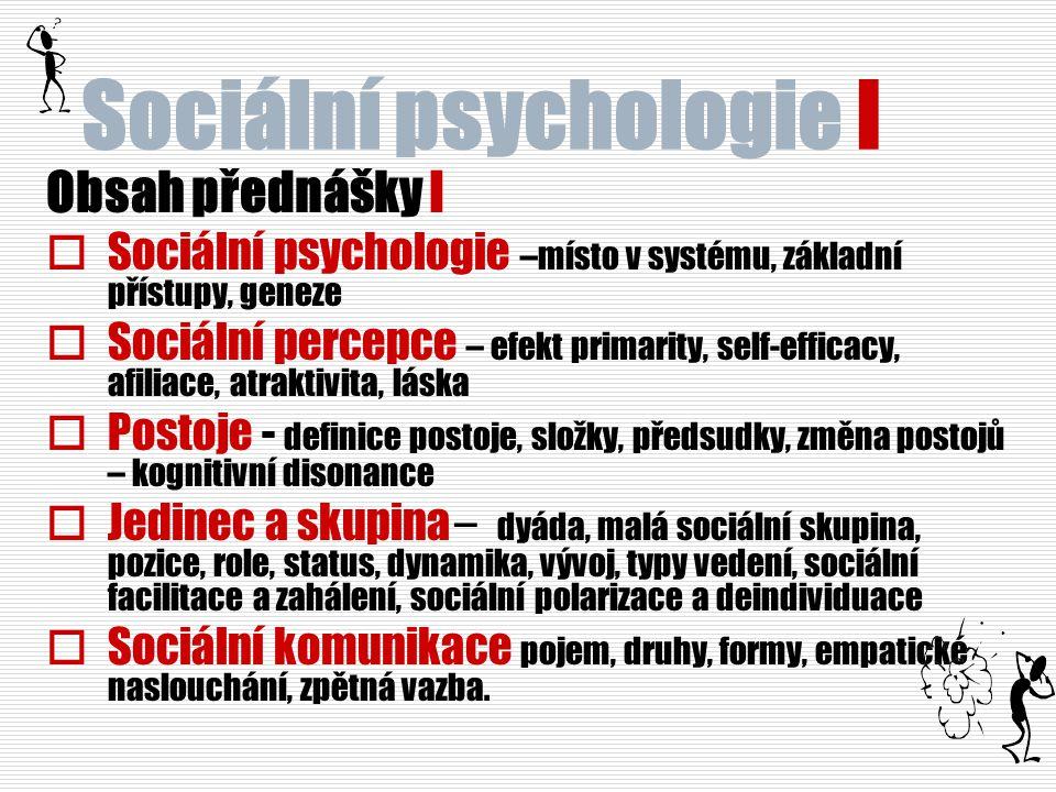 Sociální psychologie I