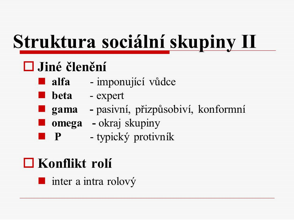 Struktura sociální skupiny II