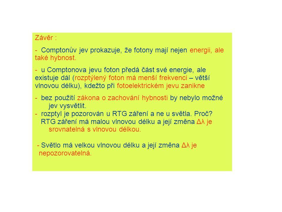 Závěr : - Comptonův jev prokazuje, že fotony mají nejen energii, ale také hybnost.