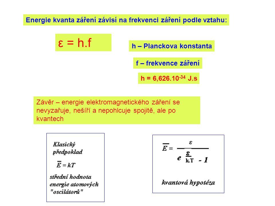 ε = h.f Energie kvanta záření závisí na frekvenci záření podle vztahu: